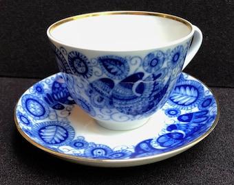 Lomonosov Blue Mid Century Folk Art Partridge Tea Coffee Cup and Saucer Russian Porcelain
