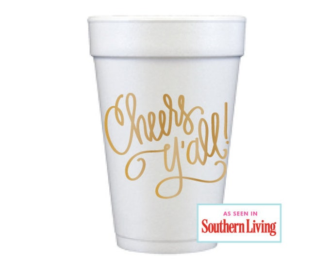 Featured listing image: Foam Cups | Cheers Y'all (gold)