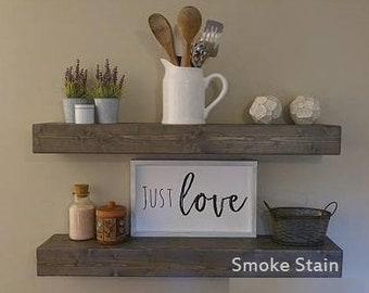 Wood Shelves, Floating Wood Shelves, Rustic Shelves, Floating Shelf, Wood, Floating, Farmhouse Décor, Rustic Beam Shelf, Chunky Shelf