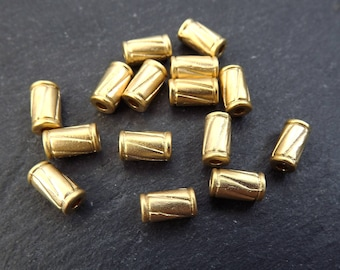 15 Gold Tube Beads Diagonal Line Detail Metal Spacers Jewelry Making Beading Supplies Findings - 22k Matte Gold Plated