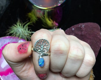 Sterling Silver Blue Fire Opal Tree of Life Ring, Size 7.5 (925 Stamped)