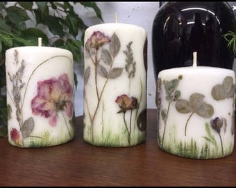 WEDDING candles, set of 3, wedding decor, floral candles with dried flowers, wedding decoration, homedecor candle, GIFT for her