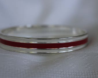 Enameled Vintage Bracelet Red and White Marked Chaps