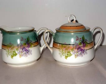 Germany #75 Porcelain Creamer & Sugar Bowl Gold Leaf Flower Motif Home and Garden Kitchen and Dining Serve Ware Tableware Coffee and Tea