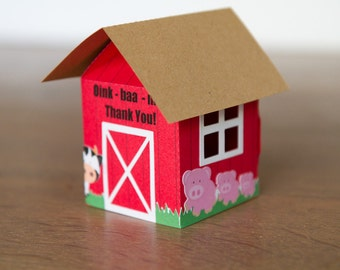 Barn Farm Favor Boxes / Treat boxes (Set of 4)