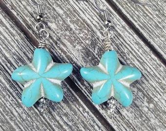 Starfish earrings, Beach themed earrings, Beach lover earrings, Turquoise earrings, Star earrings, Sea themed earrings, Ocean lover jewelry