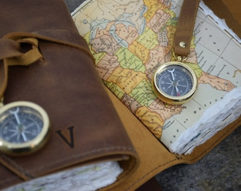 Leather Journal Small Leather Travel Journal with Compass, Map, and Initials