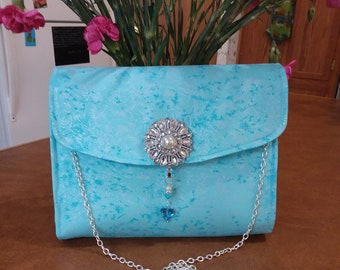 Clutch Purse Light Blue Fairy Frost, gifts for women, gifts for bridesmaids, evening date night clutch