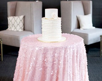 Baby Pink Sequin Tablecloth MADE TO ORDER Shiny Blush Light Pink Sequin Round Table Cloth for Girly Birthday Baby Shower Bridal Shower Party