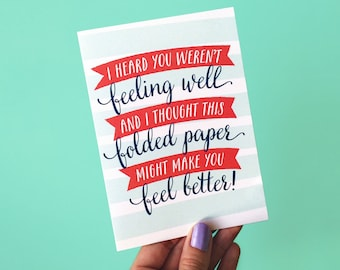 Heard You Were't Feeling Well (Get Well Soon) Card - Funny Get Well Card - Thinking of You Card - Encouragement Card  - Funny Sympathy Card