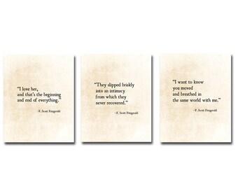 F. Scott Fitzgerald, Love Quotes, Romantic Quote, Literacy Book Prints, Literature Print, Large Wall Art,  Set of Three Fine Art Prints