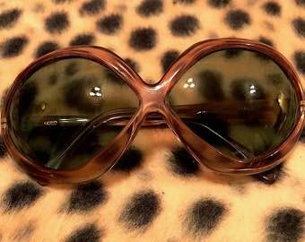 Vintage 1960s Filos Italian Sunglasses Oval Fisheyed Shape Brown Lucite Clear Frames  Hippie Mod GoGo Psychedelic Groovy Midcentury