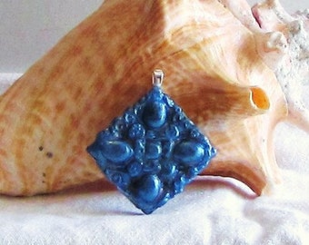 Metallic Blue Clay Pendant
