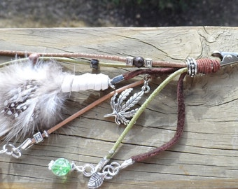 Festival Clip in Natural Green and Brown Leather, Various Charms and Beads and Feather