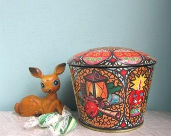 Vintage Christmas Tin - Meister Tin, Small Decorative Christmas Tin, Christmas Gift, Ornate Christmas Tin, Candy Tin, Stocking Stuffer