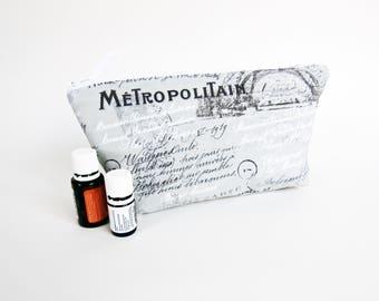 Essential Oil Bag - Grey Paris with Solid Seafoam Green, Travel Bag Essential Oil Case Oil Pouch EO Travel Bag
