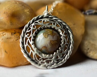 CLEARANCE Nest Necklace - Unique Simple Antique Silver Pendant with India Agate - Colorful, Nature Inspired, Natural, Organic, Bohemian