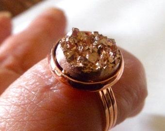 Rose gold  druzy ring, druzy  ring, 12mm rose gold ring,