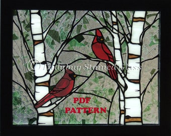 """PDF PATTERN for Stained Glass Panel """"Cardinals in the Spring""""  (Pattern Only)"""