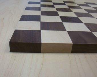 """Hardwood walnut and maple chessboard 2-1/4"""" playing squares"""
