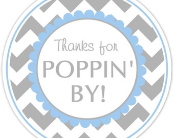 Baby Shower Thanks for Poppin By labels, Chevron Baby Shower Labels, Thanks for Popping By Stickers, Choose Your Color Chevron
