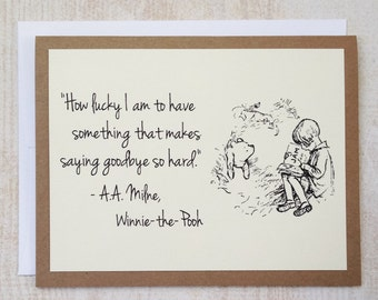 SET OF 4 How Lucky I Am - Winnie the Pooh Quote - Classic Pooh and Christopher Robin Note Card Cream On Kraft Brown