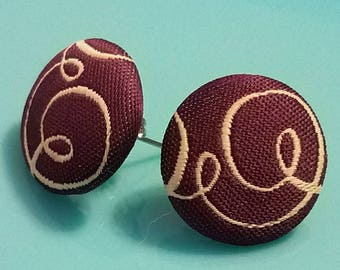Plum Fabric Covered Button Post Earrings