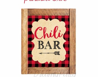 Chili Bar Lumberjack Sign, Chili Bar Sign, Lumberjack Decorations, Buffalo Plaid Decorations, Digital File.