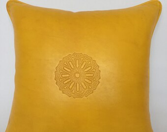 Leather Cushion Cover | Accent Pillow Couch | Handmade pillow | | Throw Pillow | Moroccan, Arabic & Luxurious Design