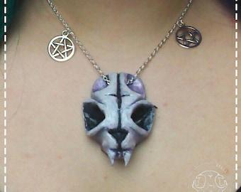 Cat Skull Necklace purple