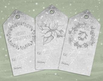 "Digital Christmas Gift Tags ""Gray Christmas Tags"" clip art clipart instant download printable holiday xmas gray gift tags hang tags"