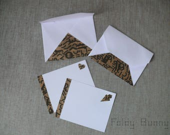 Mistinguette - Set of 2 origami and matching envelopes