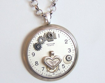 Steampunk Necklace --Pocket Watch Collage  SN201