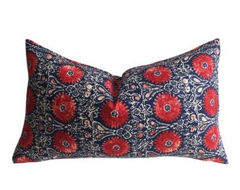 Red and Blue linen decorative pillow cover / Natural linen cushion / Red throw pillow / Ruby Indigo pillow cover / Red Accent Cushion Cover