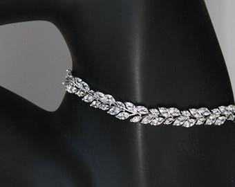 Laurel Leaf Cubic Zirconia Choker Necklace Cocktail Jewelry Best Gifts For Her