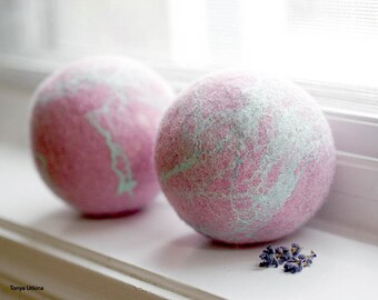 Wool dryer balls, set of two, all natural, eco friendly
