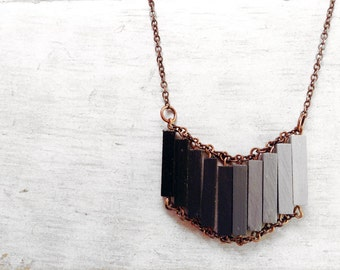 Ombre Necklace // CASABLANCA // Modern Necklace// Ombre Wood Hand-Painted Pendant // Minimal Necklace // Black Modern Necklaces // Chic