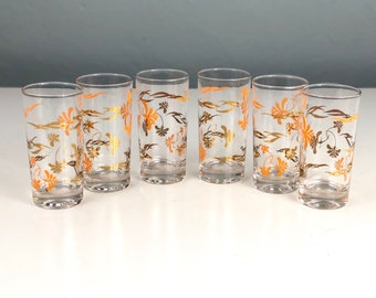 Mid Century Modern Drinking Glasses with Gold and Orange Design, Set of Six