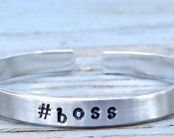 1 #boss bracelet, #boss handstamped bangle, hashtag jewelry hashtag bracelet personalized, instajewelry, instabracelet, aluminum