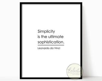 Printable Quote, Typography Print, Quote Print, Leonardo Da Vinci Quote, Wall Art, Wall Decor, Minimalist Art, Black and White, Simplicity