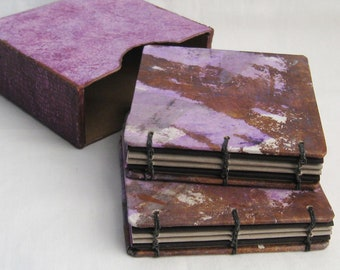 Mini journals, Books in case, quote books, handmade notebooks, gift books, lavender books, purple and brown, one of a kind, coptic books