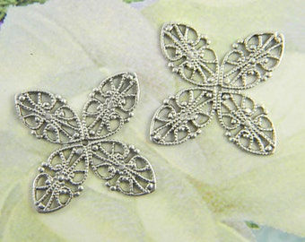 Antiqued Silver Filigree, Brass Filigree, Cabochon Wrap, Brass Connector, Brass Findings, Filigree Wrap, 33mm - 4 pcs. (sl172)