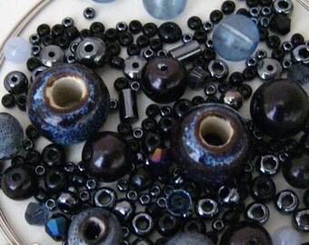 KIT noir gris fumé en verre perles Wrap Bracelet sur fil mémoire KIT