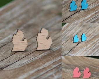 Michigan Earrings | Michigan Jewelry | Michigan Stud Earrings | Wood Michigan Earrings | Hand Painted Earrings | Michigan State Earrings