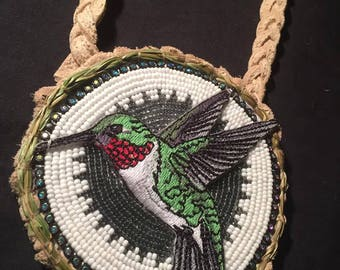 Hummingbird beaded medallion with sweetgrass border authentic Native American Beadwork