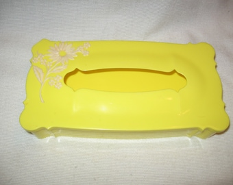 Tissue Box 1950s-60s  Bright Yellow Plastic Ivory Flowers - SALE 10% Off