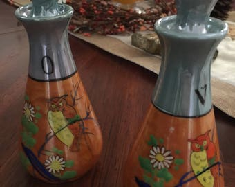 Vintage Lusterware Oil and Vinegar Set made in Japan