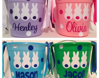 Personalized Easter plastic pail bucket with rope handle Bunny party gift favor basket Personalized