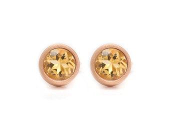 Citrine Stud Earrings - Gemstone POP Stud Earrings - Rose Gold Studs - Citrine in Rose Gold - 18k Rose Gold Vermeil - Studs