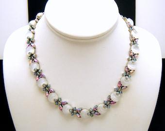 Crown Trifari White Shoebutton Glass Necklace Pink Blue AB Rhinestones Silver Tone